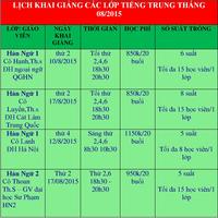 Lịch khai giảng các lớp Hán ngữ tháng 8-2015