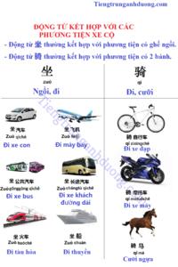 Động từ kết hợp với phương tiện xe cộ trong tiếng Trung