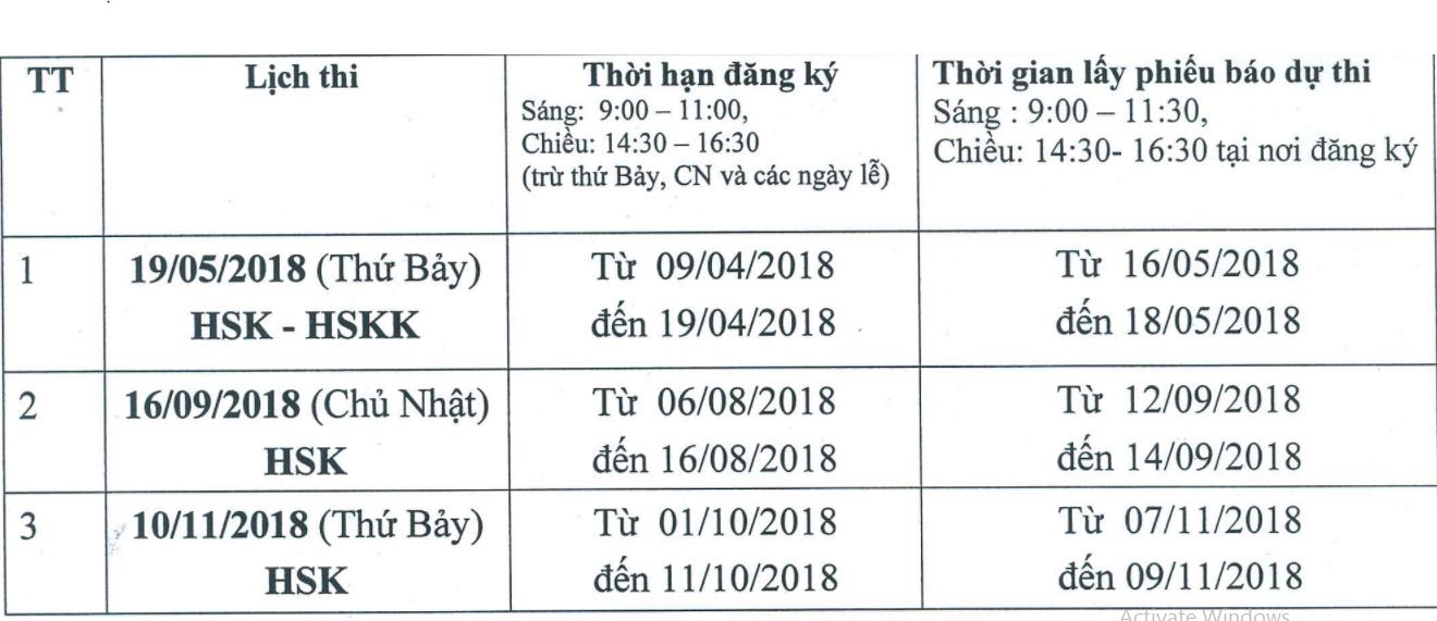 lịch thi hsk và hskk năm 2018 tại đại học ngoại ngữ-đại học quốc gia hà nội