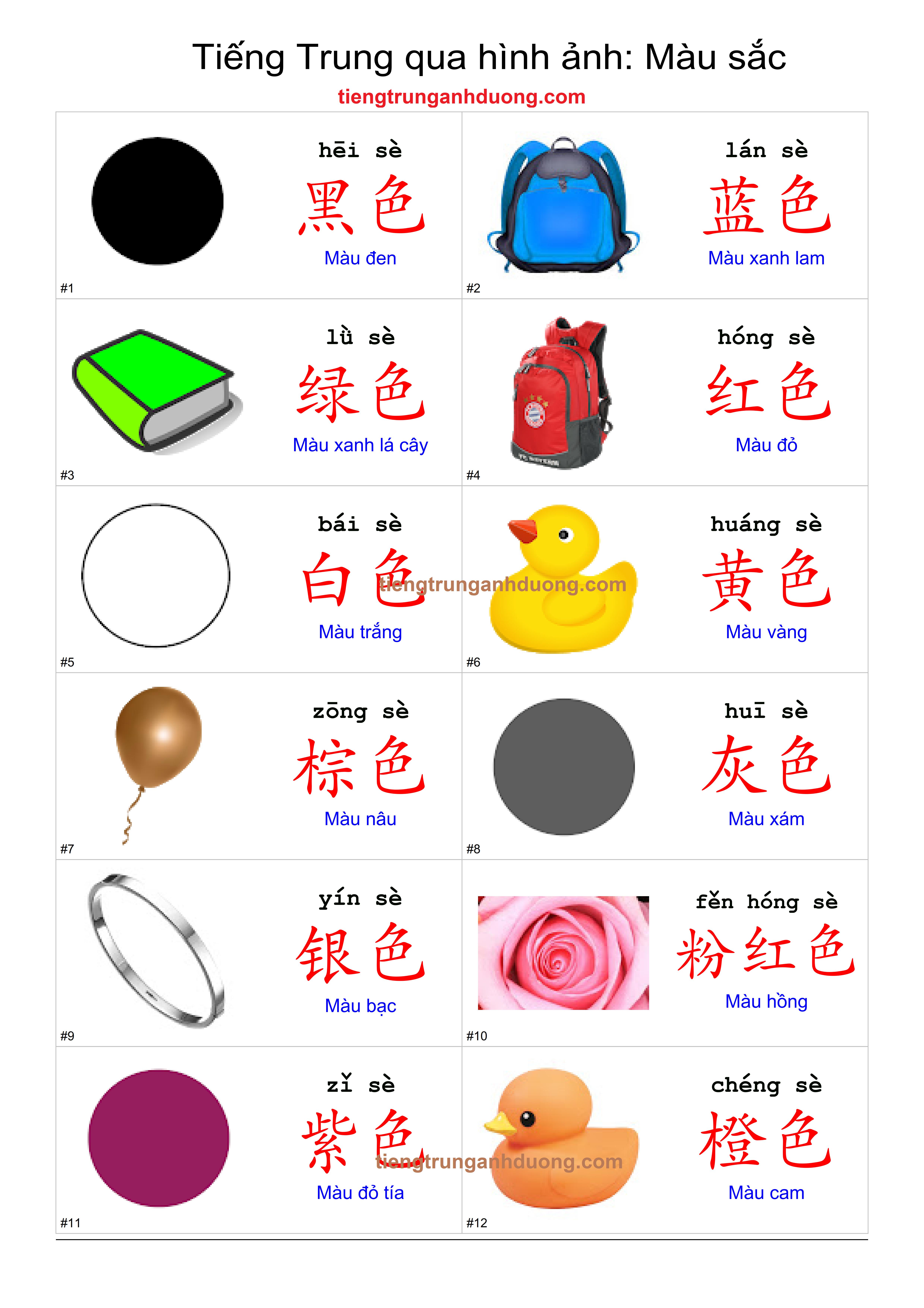 Mẫu câu đơn giản chỉ màu sắc trong tiếng Trung