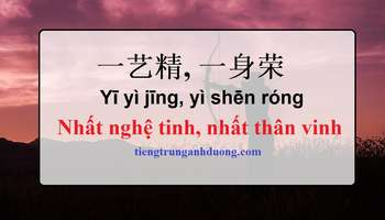 Giải nghĩa nhất nghệ tinh, nhất thân vinh trong tiếng Trung