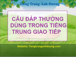 Những câu đáp lại bằng tiếng Trung thông dụng