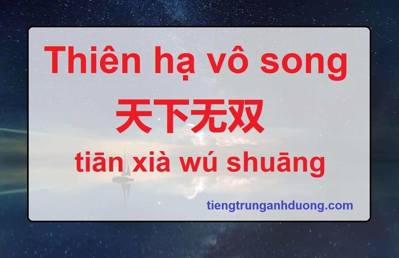 Thiên hạ vô song 天下无双 tiān xià wú shuāng